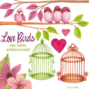 Love Birds with Branches & Flowers Watercolor Clipart - slslines