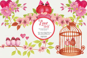 Love Birds with Flowers - Weddings & Valentine's Day