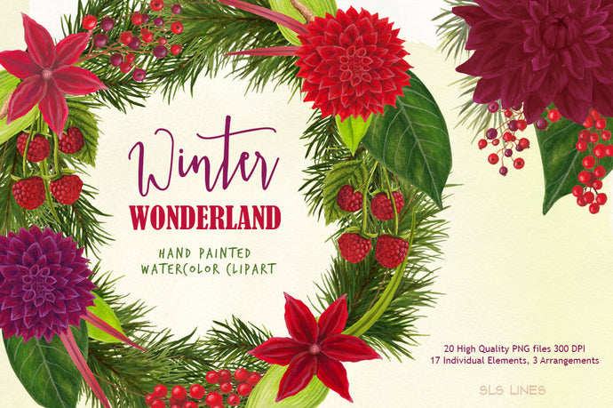 Winter Wonderland Christmas Watercolor Clipart