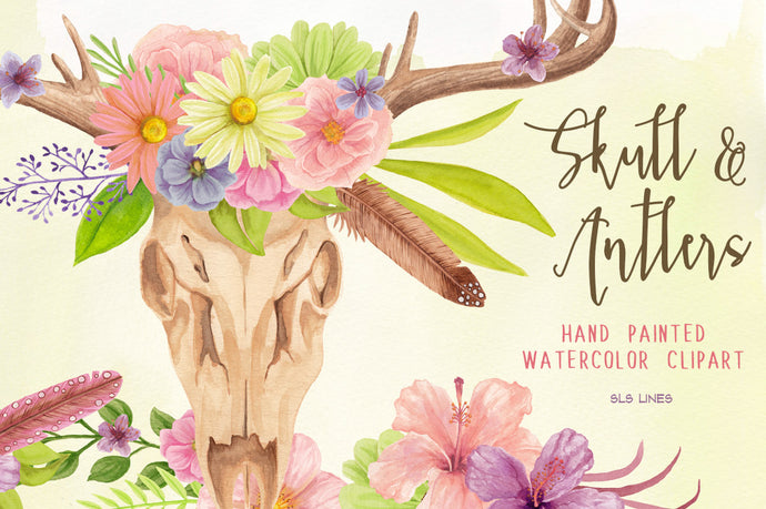Skull & Deer Antlers Watercolor Clipart Set
