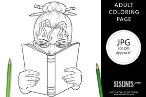 Printable Coloring Page: Book Loving Reader