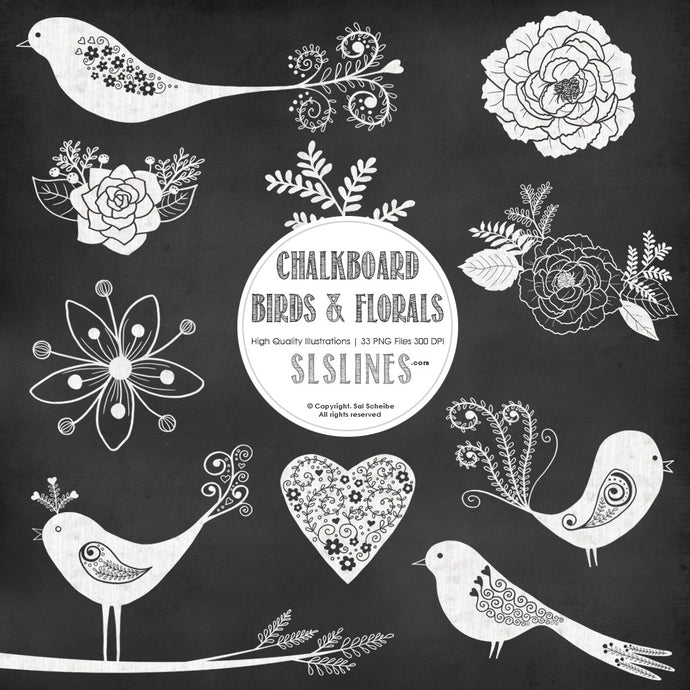 Chalkboard Birds & Florals Graphic Set - slslines