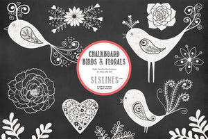 Chalkboard Birds & Florals Graphic Set