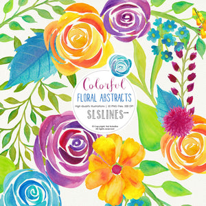 Colorful Floral Abstracts Watercolor Clipart - slslines