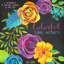 Load image into Gallery viewer, Colorful Floral Abstracts Watercolor Clipart - slslines