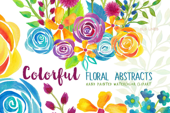 Colorful Floral Abstracts Watercolor Clipart