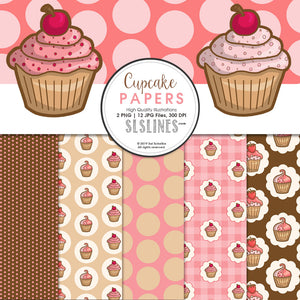 FREE Cupcake Background Papers
