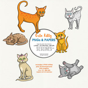 FREE Cat clipart and background papers