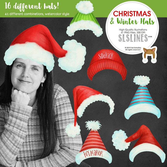 Christmas & Winter Watercolor Hats Clipart