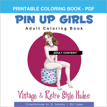 Load image into Gallery viewer, Printable Coloring Book: Nude Retro Pin-Up Girls, 24 pages - slslines