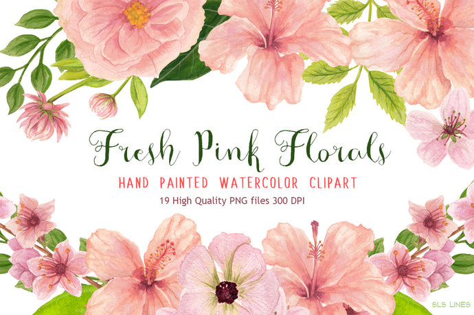 Fresh Pink Hibiscus Florals Watercolor Clipart