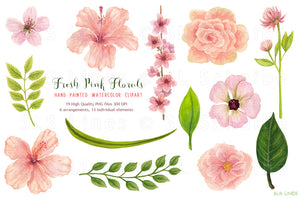 Fresh Pink Hibiscus Florals Watercolor Clipart - slslines