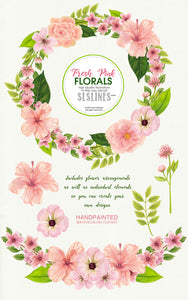 Pretty pink watercolor flower clipart