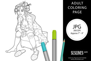Printable ADULT Coloring Page: Tired Mama