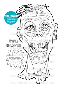 Printable Coloring Book: Zombie Heads, 12 gross pages - slslines
