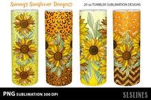 Load image into Gallery viewer, Skinny Tumbler Sublimation - Sunflowers with Leopard Print PNG