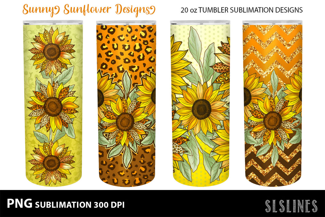 Skinny Tumbler Sublimation - Sunflowers with Leopard Print PNG