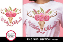 Load image into Gallery viewer, Witchy Mama Sublimation with Deer Skull and Flowers PNG