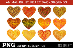 Sublimation Backgrounds - Animal Print Hearts in Yellow & Orange