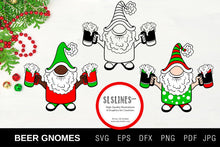 Load image into Gallery viewer, Christmas Gnome Beer Drinkers SVG EPS PNG