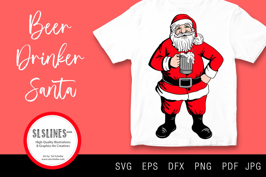 Beer Drinking Santa Claus SVG