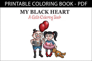 Printable Coloring Book: My Black Heart, Cute goths, 15 pages