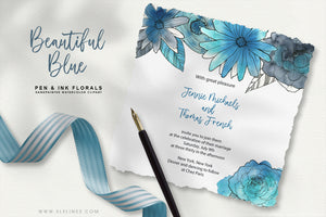 Blue Pen & Ink Watercolor Florals
