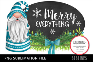 Christmas Gnome in Blue PNG Sublimation Merry Everything