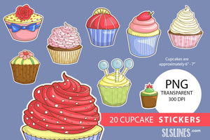 Printable Stickers: Yummy Cupcakes