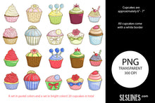 Load image into Gallery viewer, Printable Stickers: Yummy Cupcakes
