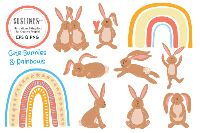 Cute Bunnies & Rainbows EPS & PNG