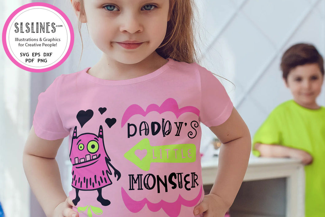 Baby & Toddler Designs SVG - Daddy's Little Monster PNG