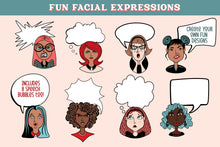 Load image into Gallery viewer, Fun Facial Expressions Vectors & PNG