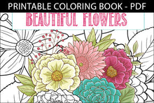 Load image into Gallery viewer, Printable Coloring Book: Beautiful Garden Flowers, 15 pages