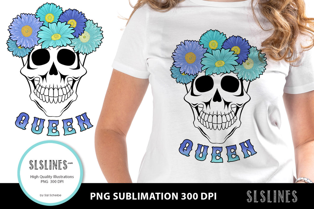 Queen Flower Skull PNG sublimation Blue