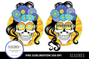 Love & Hearts Flower Skull PNG sublimation Blue Yellow