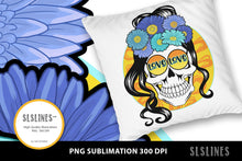 Load image into Gallery viewer, Love & Hearts Flower Skull PNG sublimation Blue Yellow