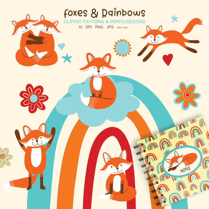 Cute Foxes and Rainbows Clipart & Prints - AI EPS PNG