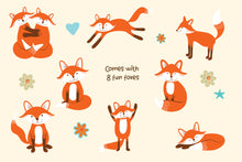 Load image into Gallery viewer, Cute Foxes & Rainbows Clipart AI EPS PNG