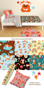 Cute Foxes & Rainbows Clipart AI EPS PNG
