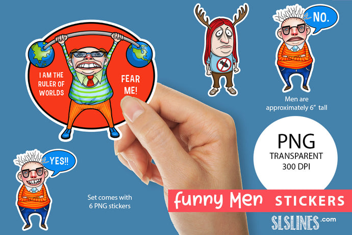 Printable Stickers: Funny Men