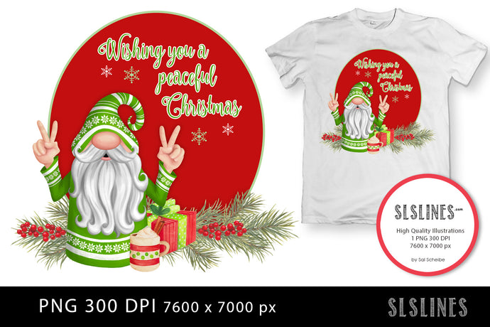 Peaceful Christmas Gnome in Green PNG sublimation