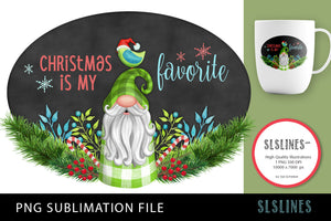 Christmas Gnome Green Plaid PNG sublimation