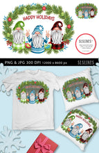 Load image into Gallery viewer, Trio of Christmas Gnomes PNG sublimation