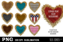 Load image into Gallery viewer, Sublimation Backgrounds - Hearts with Leopard Print