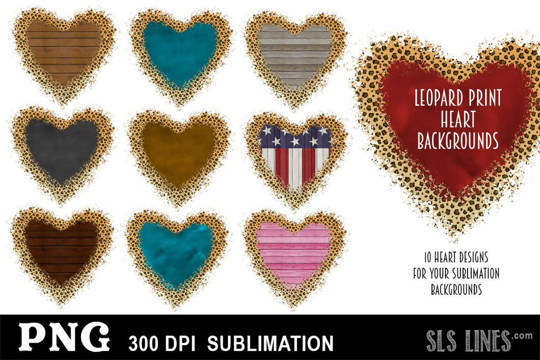 Sublimation Backgrounds - Hearts with Leopard Print