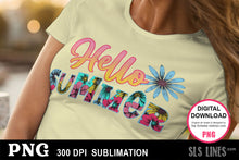 Load image into Gallery viewer, Summer Sublimation - Hello Summer in Flowers PNG