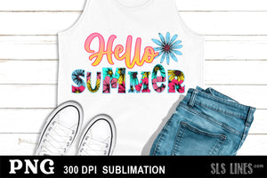 Summer Sublimation - Hello Summer in Flowers PNG