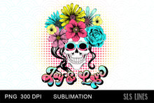 Load image into Gallery viewer, Retro Love & Joy Flower Skull Sublimation PNG