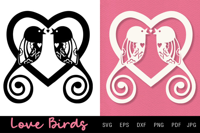 Love Birds in a Heart SVG Valentine's Day